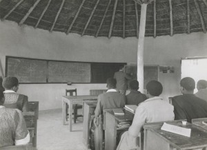 Murray McGregor teaching a High School class at Blythswood. About 1950.