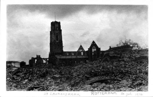 The St Laurens Church after the Rotterdam Blitz, May 1940.