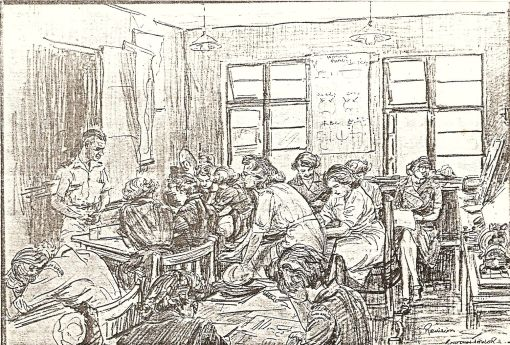 Lt McGregor with a class of HDO Swans-in-training. Charcoal drawing by Major A Gordon-Taylor