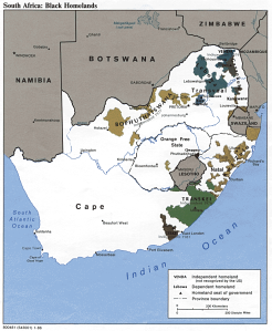Map of so-called homelands in South Africa under apartheid