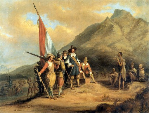 The rather fanciful depiction of the arrival of Van Riebeeck at the Cape in 1652, painted by Charles Bell in 1850. The original is housed in the South African Library.