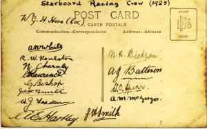 Signatures of the Starboard Watch racing crew on the back of the photo above