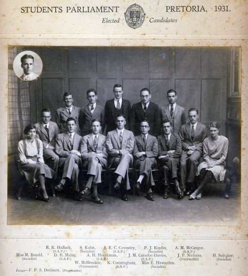 In 1931 Murray McGregor ws elected as a South African Party representative from UCT to the Students Parliament to be held in Pretoria