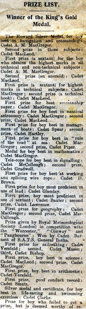 The prize list in the Cape Times report