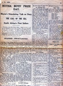 Report on the prize giving in the Cape Times of November 11, 1925