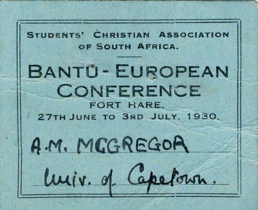Murray McGregor's Conference membership card