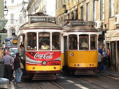 Trams in a narrow Lisbon street. Photo by Dr G Schmitz 2005