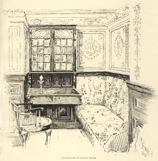 A bookcase in the music room by Joseph Pennell