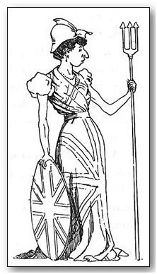 Britannia At the fancy dress ball on board the belle of the ship appeared as Britannia. The only incongruity was the helmet, whose peak did not agree with the wearer's nose; the hat had therefore to be reversed, and the back-peak was bent for additional comfort.