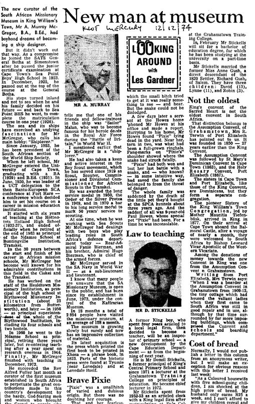 King William's Town Mercury report on Murray's appointment