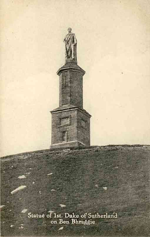 Monument to the first Duke of Sutherland, Golspie. Vintage Valentine's postcard from collection of Tony McGregor