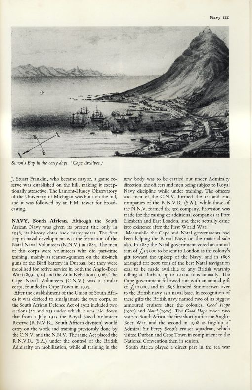 Beginning of SA Navy article in SESA Volume 8