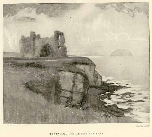 Tantallon Castle and the Bass by Joseph Pennell