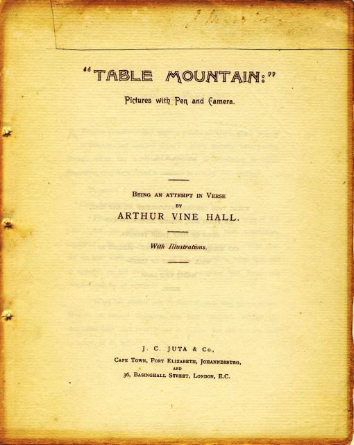 The title page of Arthur Vine Hall's book