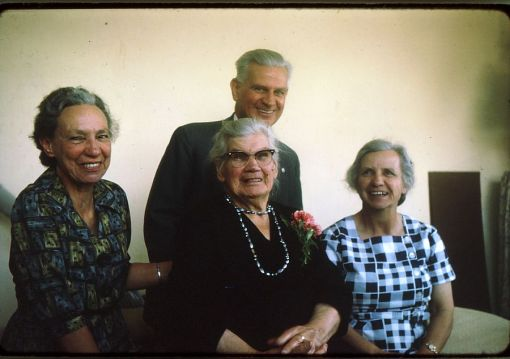 Hettie, Murray, Lucy with Miemie McGregor on the occassion of her 90th birthday. Paarl.