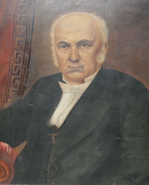 An unknown artist painted a full-length portrait of the Rev Dr William Robertson, which was cut down to leave this portion.